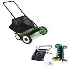 "High Quality Lawn Mower 20"" Classic Hand Push Reel W+Grass Catcher Black +Green"