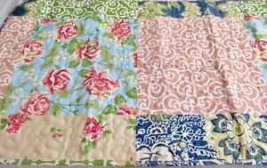Pair New King Quilted Roses Floral Pillow Shams Lightweight