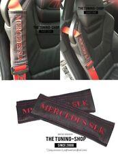"""2x pastillas de cubiertas de cinturón de seguridad de cuero """"Mercedes SLK"""" Rojo Bordado Para Mercedes Slk"""