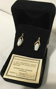 QVC  Genuine Opal Marquise Earrings in a black Velvet Box