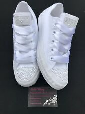 Wedding Bridal Converse Trainers Mono White Pearls Personalised 3 4 5 6 7 8  9 09707ad0d