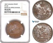 AF086, Canada, Upper Canada, Penny 1857, PC-6D, NGC MS64BN