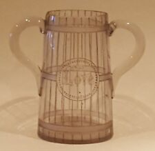 Clear etched glass vintage Georgian antique large loving marriage cup vase
