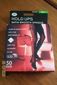 "BOOTS BLACK HOLD-UPS STOCKINGS SZ 1 HEIGHT 5' - 5' 6"" & 152 - 168 cm 50 DEN BNIP"
