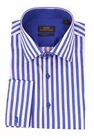 Steven Land Blue & White Striped Spread Collar French Cuff Cotton Dress Shirt
