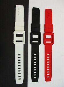 Lot of 3 Silicone Watch Band White/Black/Red Wrist Strap Skin Cover iPod Nano 6