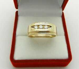 Solid 14k Yellow Gold Three-stone Diamond Men's ring Band size 10.5