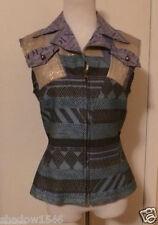 JEANS DE CHRISTIAN LACROIX Blue Multi Silver Vest Size 10 Italy 44