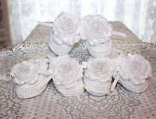CUTE 3 Pairs WHITE w/White Extra Large Flowers Baby Doll Booties - Reborn Dolls