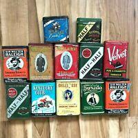 Lot Of 12 Vintage Antique Vertical Pocket Tins, Tobacco, Cigar, Cigarette