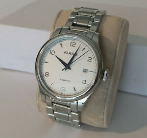 Parnis White Dial Blue Hands Automatic Watch Miyota Stainless Steel Case/Band