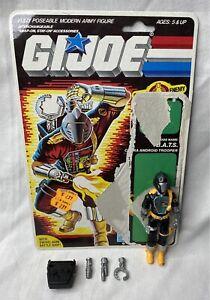 Vintage 1986 G.I. JOE B.A.T.S. Cobra Android Figure w/ Accessories & Cardback