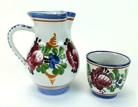 Vintage J GRAF STOOB Hand Painted Ceramic Pottery Pitcher & Cup MADE IN AUSTRIA