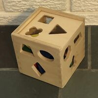 Melissa & Doug Shape Sorter Sorting Cube Wood Box Classic Wooden Kids Toy GUC