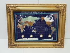 Precious Gemstone World Map Globe Mother Pearl Lapis Lazul Pietra Dura Brand New