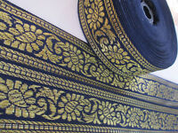 2 METER Borte Spitze Nichtelastisch Blau Gold 4cm elegante top C115*****