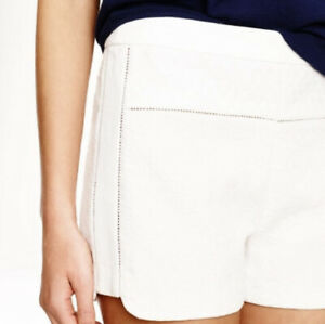 NWT J. Crew White Mixed Matelasse Cotton Flat Front High Rise Shorts 0