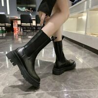 Goth Ladies Womens Ankle Chelsea Boots Chunky Platform Sole Mid Calf Shoes UK