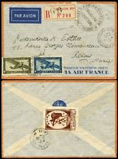 FRENCH INDOCHINA 1936 REGISTERED AIRMAIL MILITARY FM..REIMS CHAMPAGNE LABEL TIED