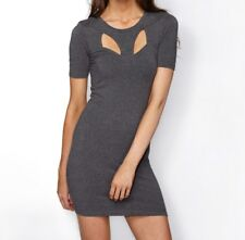 Short Sleeve Grey Bodycon Mini Dress With Open Back  Size 10 Free Post