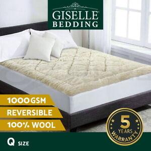 Giselle Bedding Wool Underlay Mattress Topper Underblanket Cotton Queen