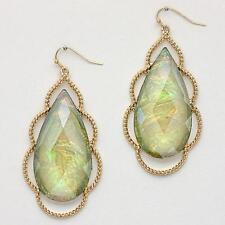 Large Green Gold Teardrop Iridescent Gemstone Dangled Earrings