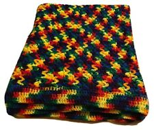 "BOHO Handmade Crochet Bright 40""X 70"" RAINBOW Afghan LAP BLANKET THROW"