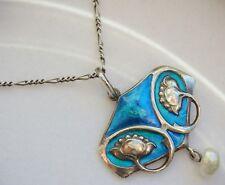 Murrle Bennett Arts & Crafts Silver & Enamel Floral Pendant Necklace c1900