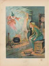 CINDERELLA WITH FAIRY GODMOTHER FAIRY TALE ANTIQUE ART PRINT LITHOGRAPH 1897