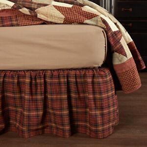 VHC Abilene Burgundy Tan Brown Plaid Country Farmhouse Gathered Bed Skirt