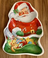 Vintage ~ Plastic Santa ~ Snack Serving Tray ~ 3 Sections