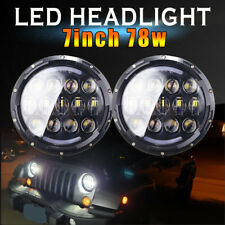 2X Hi/Lo 78W 7'' LED Headlight  Fog Light Combo Function For Jeep Wrangler JK