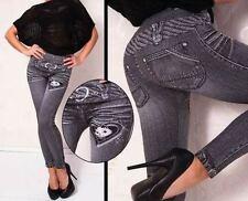 Jeans Leggings Leggin Leggins Treggings Muster schwarz 36-38 S-M 11116