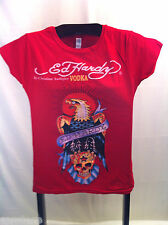 Ed Hardy Christian Audigier Short Sleeve Pullover T Shirt Red Cotton Vodka S