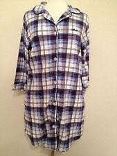 NWD DKNY Women's 3/4 Sleeve Cozy Fireside Sleepshirt Y2313114 Navy Plaid Large