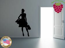 Wall Stickers Vinyl Decal Hot Girl Shopping Fashion High Heels Hair Do EM215