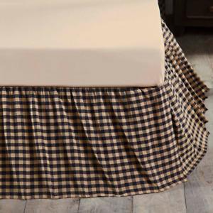"Black Check King Gathered Bed Skirt 16"" DROP"" Black Khaki Farmhouse / Country"