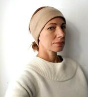 100% CASHMERE HEADBAND EAR WARMER TURBAN BEIGE RECYCLED HANDMADE ###001##