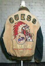 Vtg GUESS Leather American Classic Embroidery Varsity Bomber Jacket Large