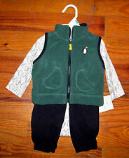 New! Boys CARTER'S 3pc Green Gray Black Fleece Penguin Shirt Vest Pants Outfit