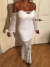 Long Sleeve off the shoulder Stretch Lace White Maxi Dress w/ sheer skirt S