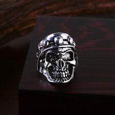 Totenkopf Ring Shield Skull Edelstahl Massiv Biker Gothic silber Herren Damen