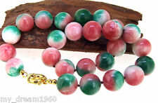 """Rainbow Jade 10mm Necklace 18"""" Knotted Gemstone Beads Choker Necklace Single"""
