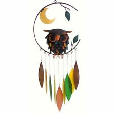 HANDCRAFTED METAL SPIKEY OWL & MOON with COLORED GLASS LEAVES WIND CHIMES