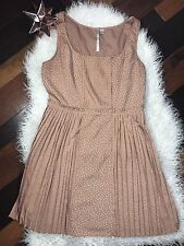 LC Lauren Conrad Womens Polka Dot Pleated Sleeveless Dress Sz 14 Spring Summer