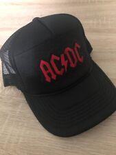 AC DC AC DC Trucker Hat Embroidered Patch Cap Music Rock Band Mesh Black  Retro 3347a4ca19ec