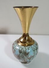 Vintage Hand Painted Blue Teal Gold Delft Holland Brass & Ceramic Pottery Vase