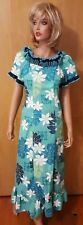 WOMENS ROYAL CREATIONS HAWAIIAN GREEN MUUMUU LONG DRESS ~ SMALL