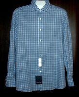 Ermonegildo Zegna Men's Blue White Plaid Cotton Shirt Size XL $395