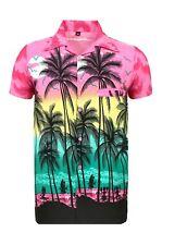 Mens Hawaiian Shirt Stag Beach Hawaii Aloha Party Summer Holiday Fancy S -xxl D1 Pink Palm M